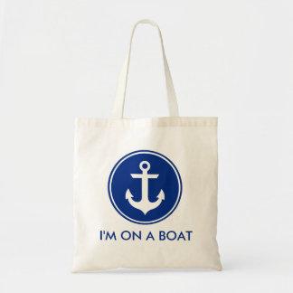 Estoy en una bolsa de asas azul náutica del ancla
