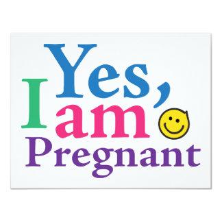 Estoy sí embarazada invitación 10,8 x 13,9 cm