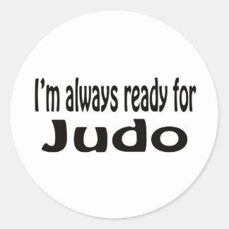 Estoy siempre listo para el judo pegatina redonda