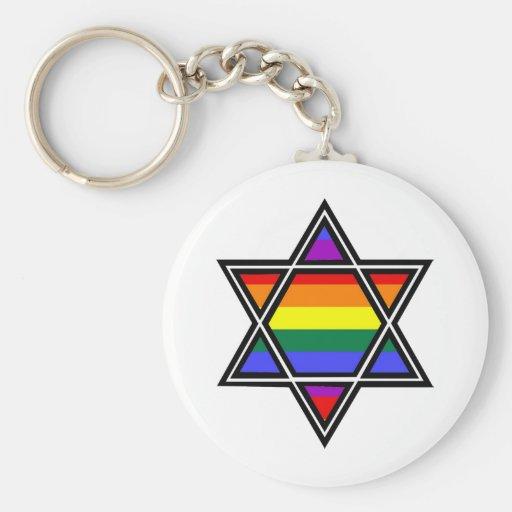 Estrella adaptable del arco iris del orgullo gay d llaveros