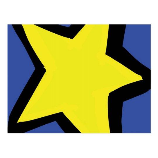 estrella amarilla y un fondo azul postal