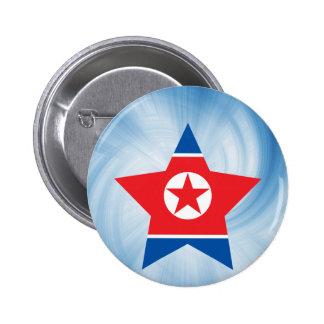 Estrella amistosa de la bandera de Corea del Norte Chapa Redonda 5 Cm