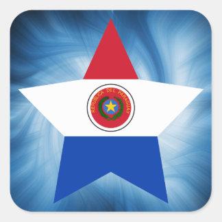 Estrella amistosa de la bandera de Paraguay del Pegatina Cuadrada
