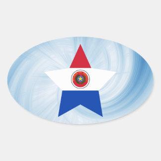 Estrella amistosa de la bandera de Paraguay del Pegatina Ovalada
