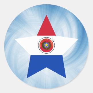 Estrella amistosa de la bandera de Paraguay del Pegatina Redonda
