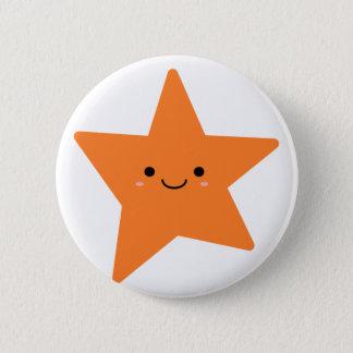Estrella anaranjada de Kawaii Chapa Redonda De 5 Cm