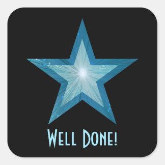 """Estrella azul """"bien hecha!"""" negro cuadrado del pegatina cuadrada"""