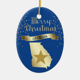 Estrella azul de Georgia del oro Adorno De Cerámica