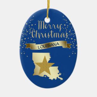 Estrella azul de Luisiana del oro Adorno De Cerámica