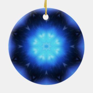 Estrella azul eléctrica adorno redondo de cerámica
