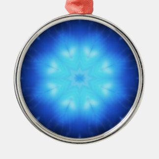 Estrella azul eléctrica adorno redondo plateado
