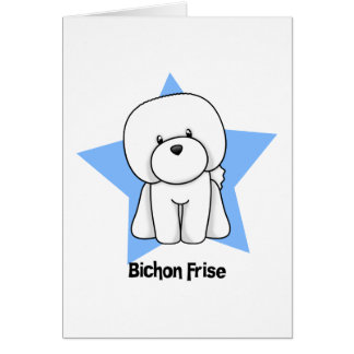 Estrella Bichon Frise de Kawaii Tarjeta De Felicitación