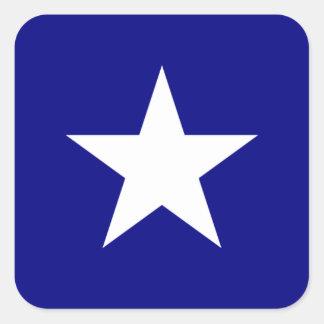 Estrella blanca de la bandera azul de Bonnie Pegatina Cuadradas Personalizadas