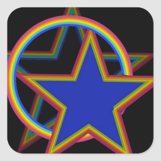 Estrella con la sombra pegatina cuadrada