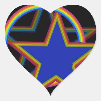 Estrella con la sombra pegatina en forma de corazón