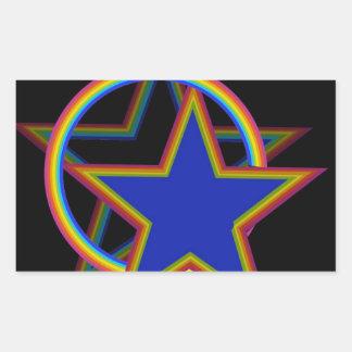 Estrella con la sombra pegatina rectangular