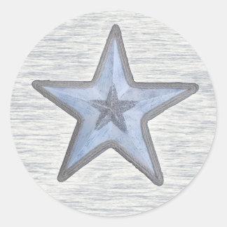 Estrella con playas en el pegatina redondo