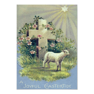 Estrella cruzada cristiana del cordero invitación 12,7 x 17,8 cm