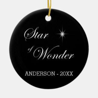 Estrella de Belén del negro de la maravilla gótica Adorno Navideño Redondo De Cerámica