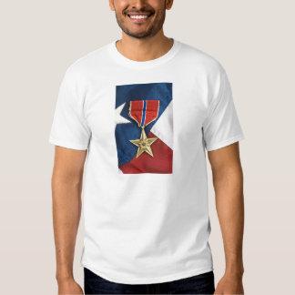 Estrella de bronce en bandera americana camiseta