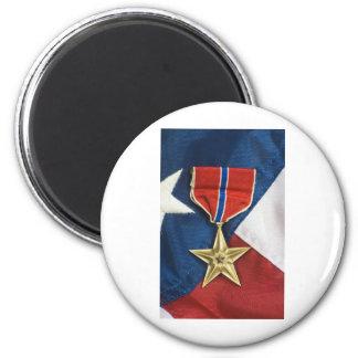 Estrella de bronce en bandera americana imanes