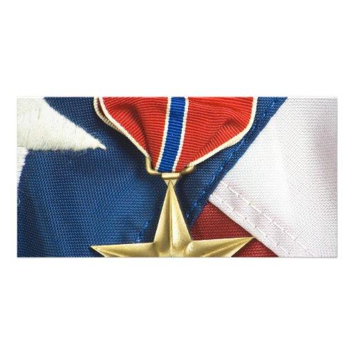 Estrella de bronce en bandera americana tarjetas personales
