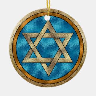 Estrella de Chanukkah de David Adorno Navideño Redondo De Cerámica