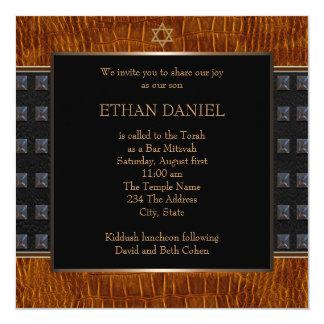 Estrella de cuero negra de Brown de la barra Invitación 13,3 Cm X 13,3cm