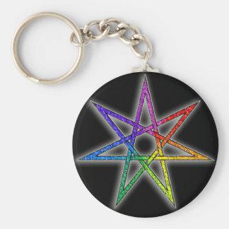 Estrella de hadas del orgullo gay llavero redondo tipo chapa