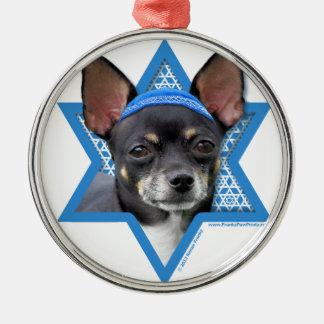 Estrella de Jánuca de David - chihuahua Adorno Redondo Plateado
