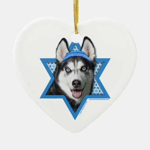 Estrella de Jánuca de David - husky siberiano Ornamento De Reyes Magos