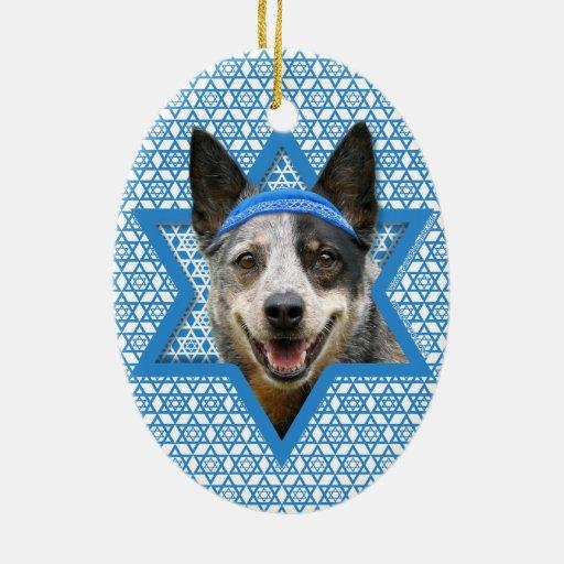 Estrella de Jánuca de David - perro del ganado Ornamentos De Navidad