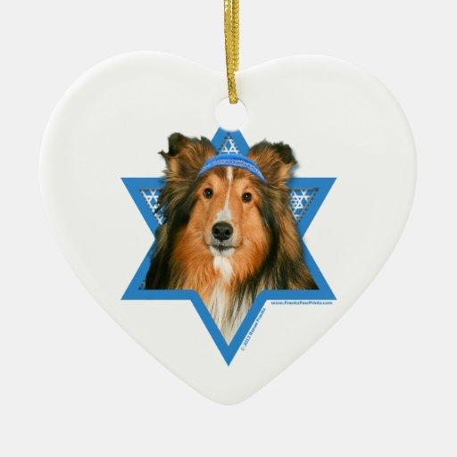 Estrella de Jánuca de David - Sheltie Ornamento Para Reyes Magos