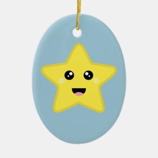 Estrella de Kawaii Adorno Navideño Ovalado De Cerámica
