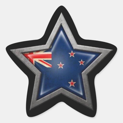 Estrella de la bandera de Nueva Zelanda en negro Calcomanías Forma De Estrellaes