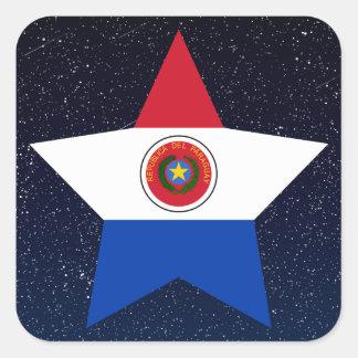 Estrella de la bandera de Paraguay en espacio Pegatina Cuadrada