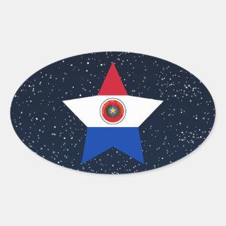 Estrella de la bandera de Paraguay en espacio Pegatina Ovalada