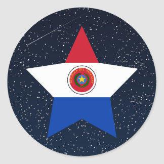 Estrella de la bandera de Paraguay en espacio Pegatina Redonda