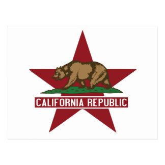 Estrella de la bandera del oso de la república de postal
