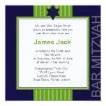 Estrella de la barra cinta verde y azul de Mitzvah Invitación Personalizada
