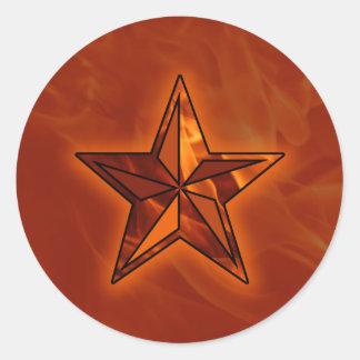 Estrella de la llama pegatina redonda