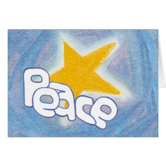 Estrella de la paz - azul tarjeta de felicitación