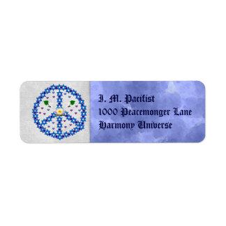 Estrella de la paz de David Etiqueta De Remite