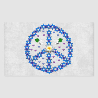 Estrella de la paz de David Pegatina Rectangular