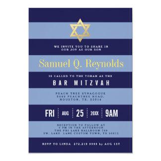 Estrella de las invitaciones rayadas de Mitzvah de