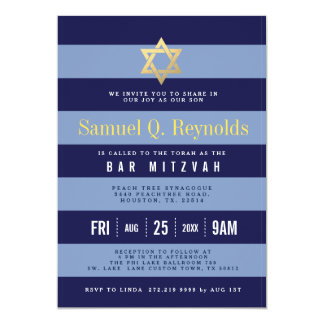 Estrella de las invitaciones rayadas de Mitzvah de Invitación 12,7 X 17,8 Cm