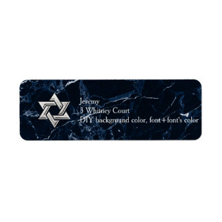 Estrella de mármol azul de medianoche de etiquetas de remite