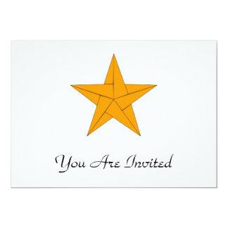 Estrella de Origami - oro Invitación 12,7 X 17,8 Cm
