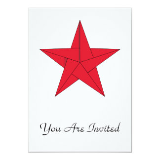 Estrella de Origami - rojo Invitación 12,7 X 17,8 Cm