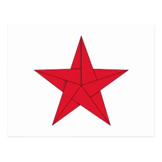 Estrella de Origami - rojo Postal